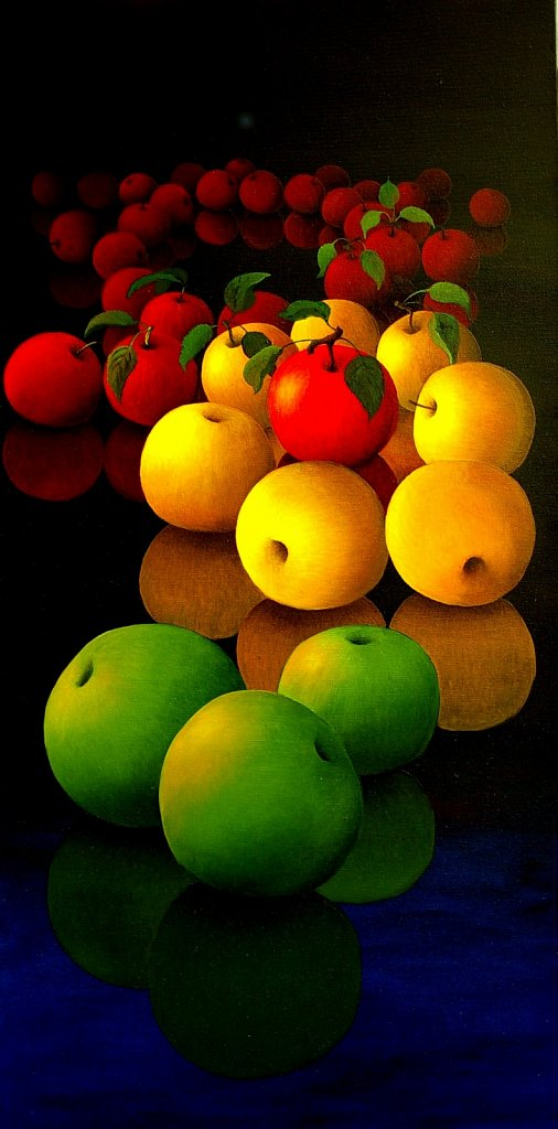 Green; yellow and red apples